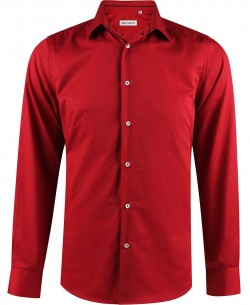 ENZO-033-2 Slim fit poplin red shirt