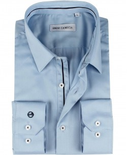ENZO-033-3 Slim fit poplin blue shirt