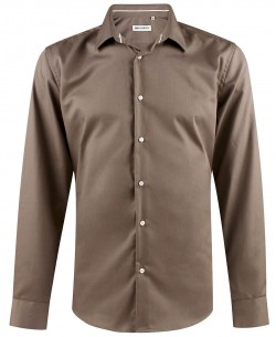 ENZO-033-5 Slim fit poplin taupe shirt