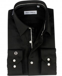 ENZO-033-6 Slim fit poplin black shirt