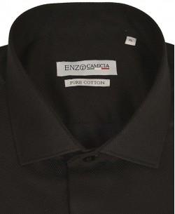 T12-2 Slim fit DIAGO stripes black shirt cutaway collar in cotton