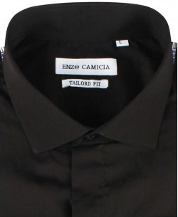 COTTON-002-2 Regular fit black POPLIN shirt cutaway collar with musketeer cuffs