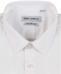 COTTON-003-1 Regular fit white poplin shirt spread collar in cotton