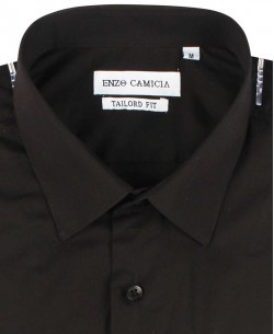 COTTON-003-2 Regular fit black poplin shirt spread collar in cotton