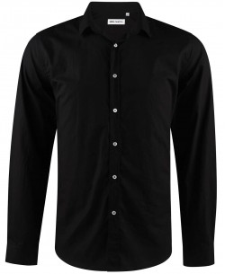ENZO-034-2 Slim fit black poplin shirt spread collar in cotton