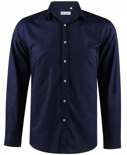 ENZO-034-3 Slim fit navy blue poplin shirt spread collar in cotton