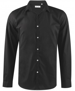 ENZO-035-2 Slim fit black round collar tips poplin shirt with removable button in cotton