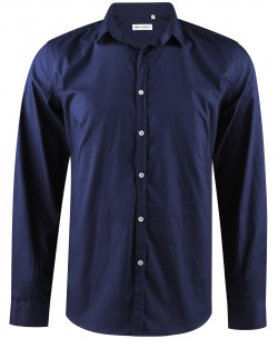 ENZO-035-3 Slim fit navy blue round collar tips poplin shirt with removable button in cotton