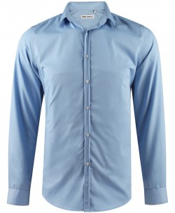 ENZO-035-4 Slim fit sky blue round collar tips poplin shirt with removable button in cotton