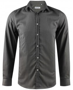 ENZO-035-5 Slim fit grey round collar tips poplin shirt with removable button in cotton