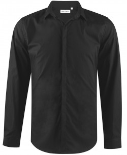 ENZO-039-2 Slim fit black poplin shirt with customized button in cotton