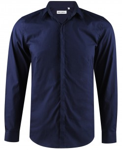ENZO-039-3 Slim fit navy blue poplin shirt with customized button in cotton