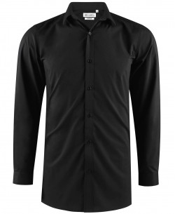 ENZO-040-2 Black stretch shirt longline fit