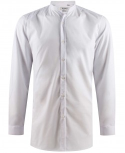 ENZO-041-1 White mandarin collar STRETCH shirt longline fit