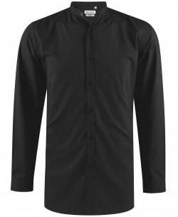 ENZO-041-2 Black mandarin collar stretch shirt longline fit