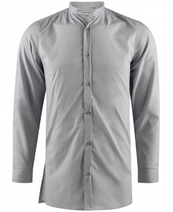 ENZO-041-3 Grey mandarin collar stretch shirt longline fit