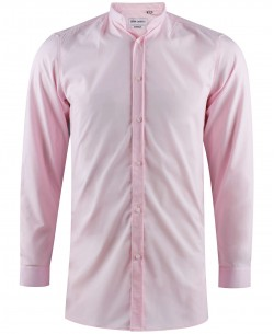 ENZO-041-4 Pink mandarin collar stretch shirt longline fit