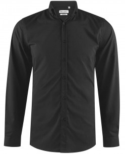 ENZO-042-2 Black STRETCH slim shirt metallic buttons on collar