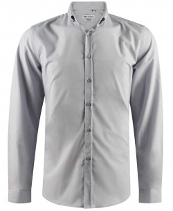 ENZO-042-3 Grey stretch shirt slim fit with metallic buttons on the collar