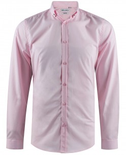 ENZO-042-4 Pink stretch shirt slim fit with metallic buttons on the collar