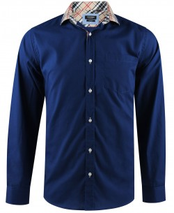 1006160-5 Royal blue shirt tartan checks regular fit