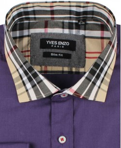 SLIM5256-3 Purple shirt TARTAN checks collar slim fit