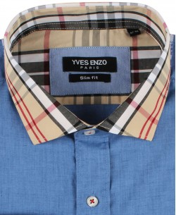 SLIM5256-4 Blue shirt TARTAN checks collar slim fit