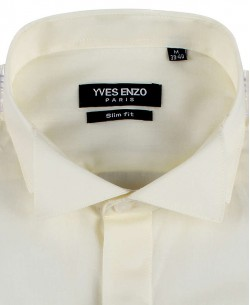 WHT-10-15 Ivory Oxford Royal shirt-slim fit wing collar-Musketeer cuffs