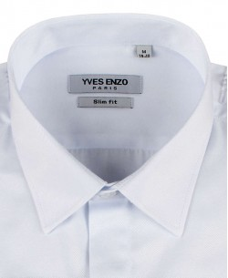 WHT-10-2 White twill shirt-slim fit wing collar-Musketeer cuffs
