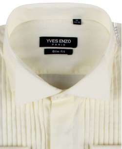 WHT-11-2 Ivory shirt slim fit spread collar
