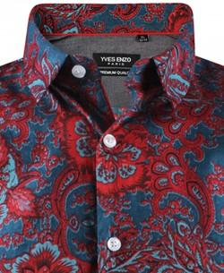 ENZO-531-4 Sleeveless stretch shirt DIONÉE prints slim fit