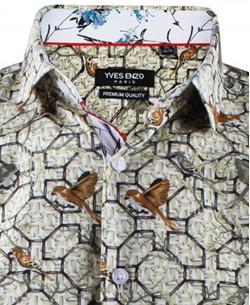ENZO-532-10 Sleeveless STRETCH shirt HOJAS prints slim fit