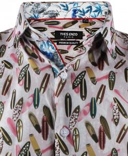 ENZO-532-12 Sleeveless STRETCH shirt SURF prints slim fit