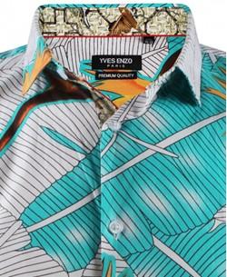 ENZO-532-7 Sleeveless STRETCH shirt FUEGO prints slim fit