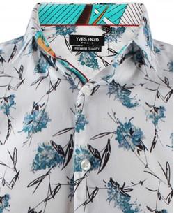 ENZO-532-8 Sleeveless STRETCH shirt PLUME prints slim fit
