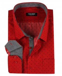 BIG-7023-3 Red shirt DOTS prints XL to 5XL
