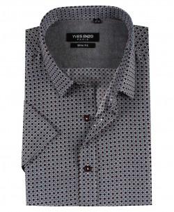 SLIM5353-12 Short sleeves IDEA prints slim fit shirt