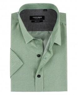 SLIM5353-9 Short sleeves green HUB prints slim fit shirt