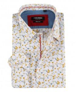 SLIM5279-3 White shirt FLOREO prints slim fit