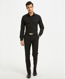 "SLIM1009-10M Black shirt slim fit ""M Size"""