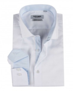 ENZO-103-1 Slim fit OXFORD ROYAL white shirt cutaway collar in cotton