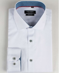 SLIM5020-3 White twill shirt slim fit