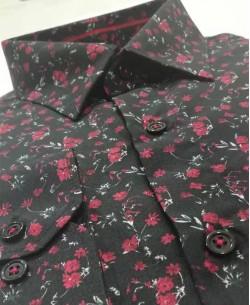 SLIM5279-6 Black shirt FLOREO prints slim fit