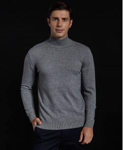 YE-6735-58 Grey jumper with funnel neck