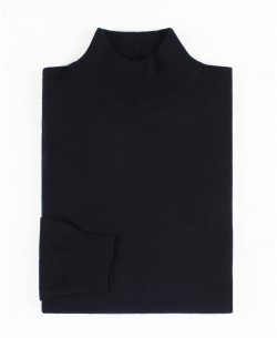 YE-6735-63 Navy blue jumper with funnel neck