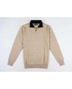 YE-6738-50 High zip neck beige jumper