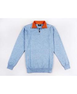 YE-6738-52 High zip neck blue vintage jumper