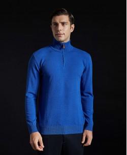 YE-6738-53 High zip neck royal blue jumper