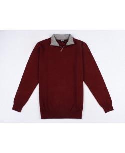 YE-6738-54 High zip neck burgundy jumper