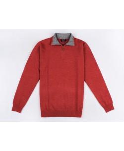 YE-6738-55 High zip neck red vintage jumper